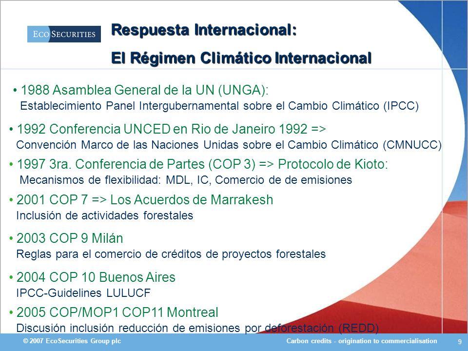 Carbon credits - origination to commercialisation© 2007 EcoSecurities Group plc 10 Solucion Internacional: Protocolo de Kioto >Tratado desarrollado en respuesta al problema de cambio climático, el cual es producto de la generación de Gases de Efecto Invernadero (GEIs) >Define las formas en las que las emisiones de GEIs pueden reducirse mediante la cooperación entre países >Los países que participan son: –Países desarrollados (Anexo I) quienes tienen el compromiso de reducir sus emisiones (ej.