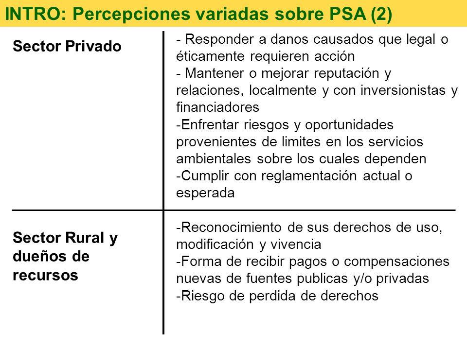 Sector Privado Sector Rural y dueños de recursos INTRO: Percepciones variadas sobre PSA (2) - Responder a danos causados que legal o éticamente requie
