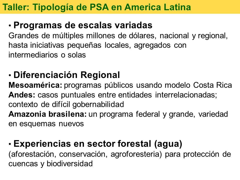 Taller: Tipología de PSA en America Latina Programas de escalas variadas Grandes de múltiples millones de dólares, nacional y regional, hasta iniciati