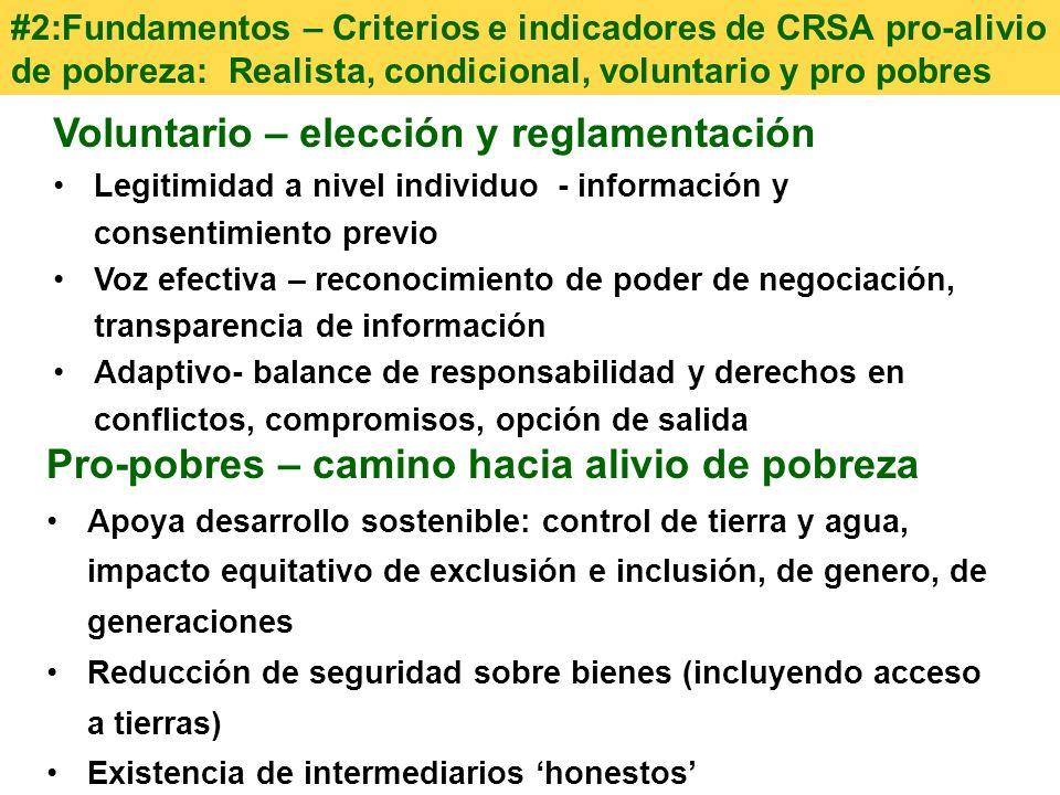 Voluntario – elección y reglamentación Legitimidad a nivel individuo - información y consentimiento previo Voz efectiva – reconocimiento de poder de n