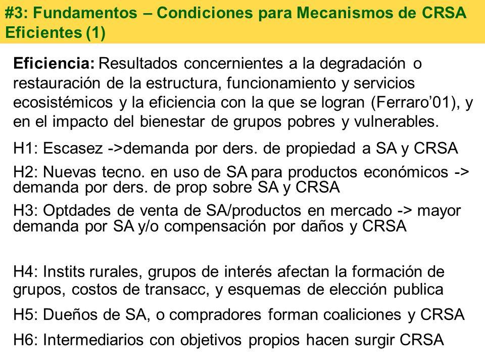 #3: Fundamentos – Condiciones para Mecanismos de CRSA Eficientes (1) Eficiencia: Resultados concernientes a la degradación o restauración de la estruc