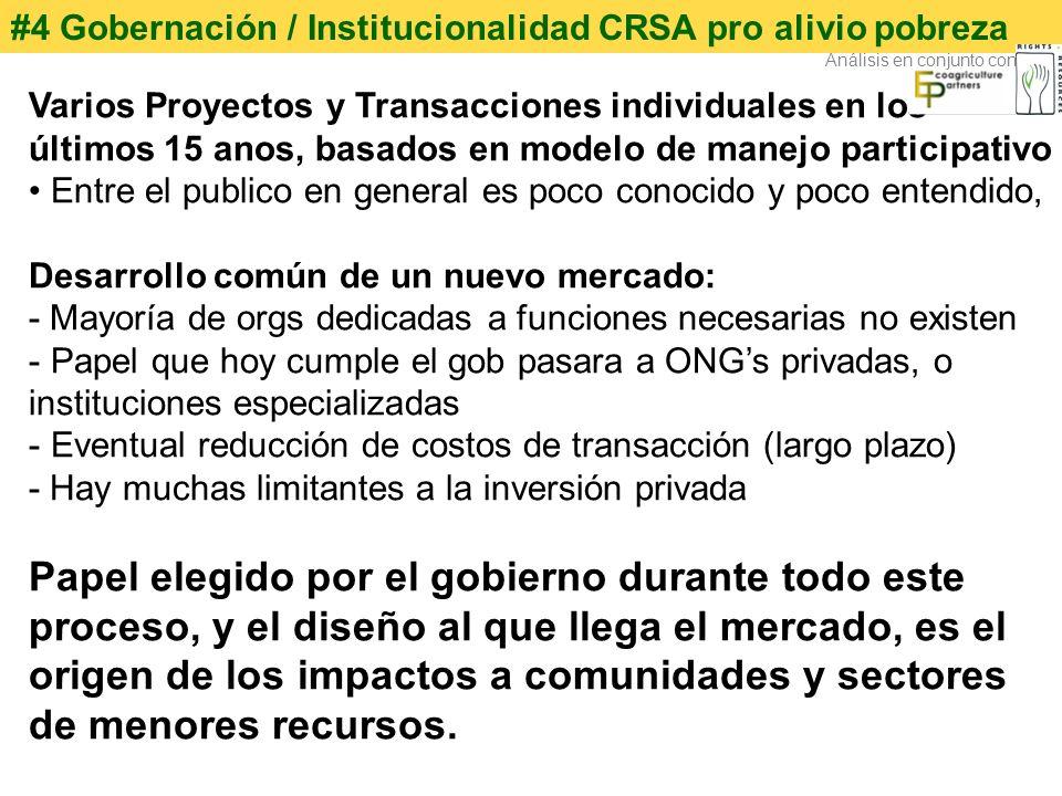 #4 Gobernación / Institucionalidad CRSA pro alivio pobreza Varios Proyectos y Transacciones individuales en los últimos 15 anos, basados en modelo de