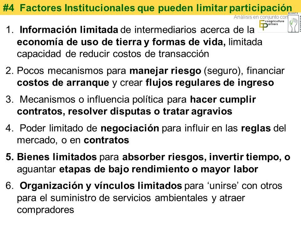 #4 Factores Institucionales que pueden limitar participación 1. Información limitada de intermediarios acerca de la economía de uso de tierra y formas
