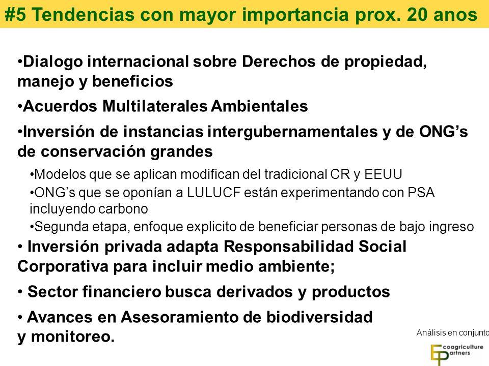 #5 Tendencias con mayor importancia prox. 20 anos Dialogo internacional sobre Derechos de propiedad, manejo y beneficios Acuerdos Multilaterales Ambie