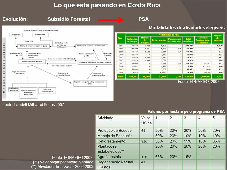 Lo que esta pasando en Costa Rica Evolución: Subsídio Forestal PSA Fonte: Landell-Mills and Porras 2007 Modalidades de atividades elegíveis Fonte: FON