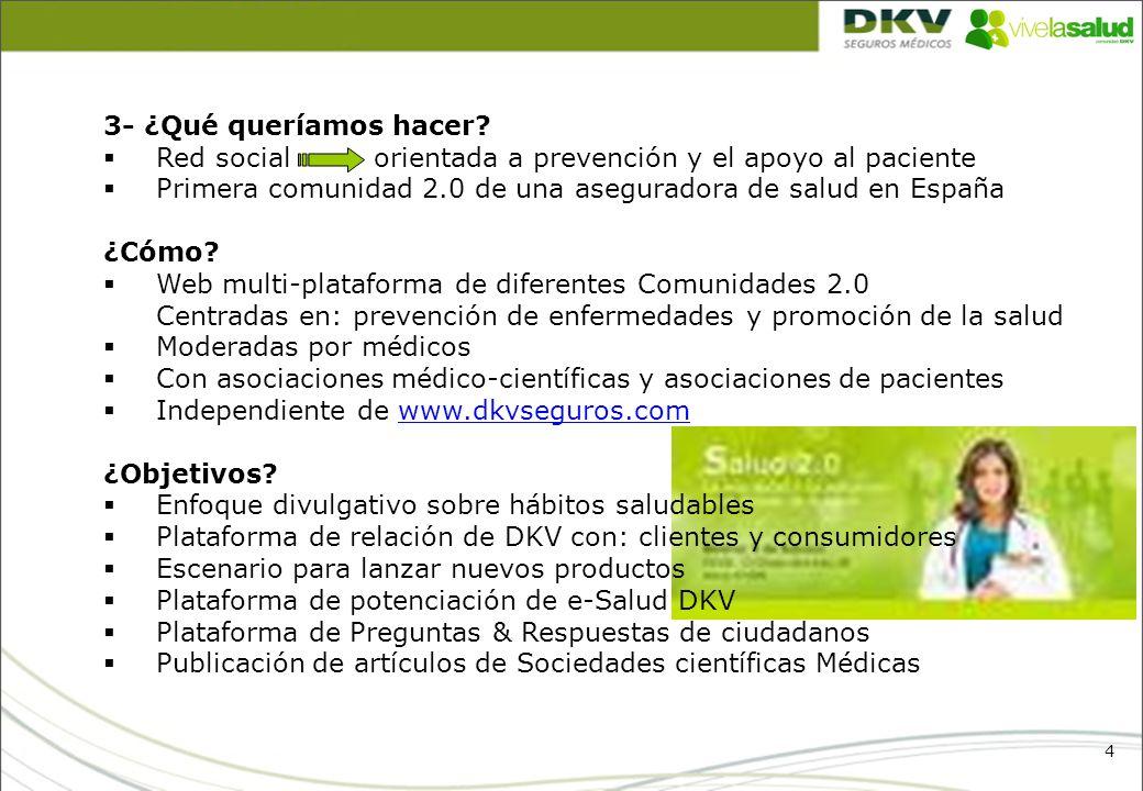 4 3- ¿Qué queríamos hacer? Red social orientada a prevención y el apoyo al paciente Primera comunidad 2.0 de una aseguradora de salud en España ¿Cómo?