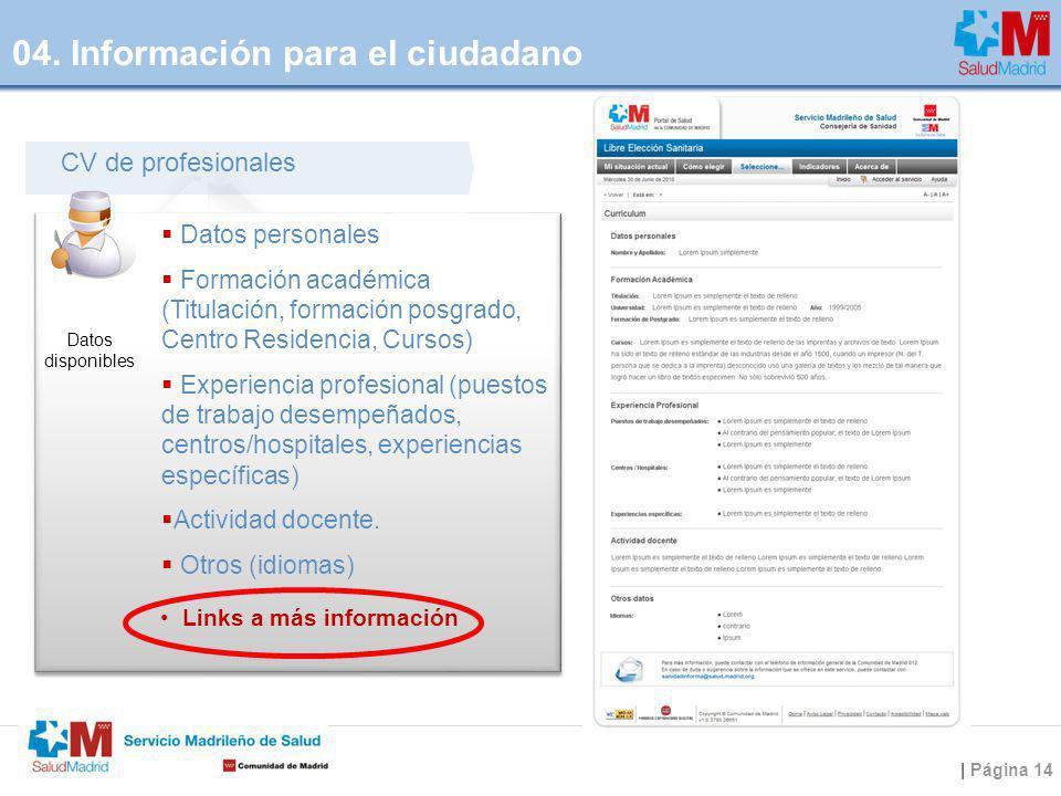 | Página 14 CV de profesionales Datos personales Formación académica (Titulación, formación posgrado, Centro Residencia, Cursos) Experiencia profesion