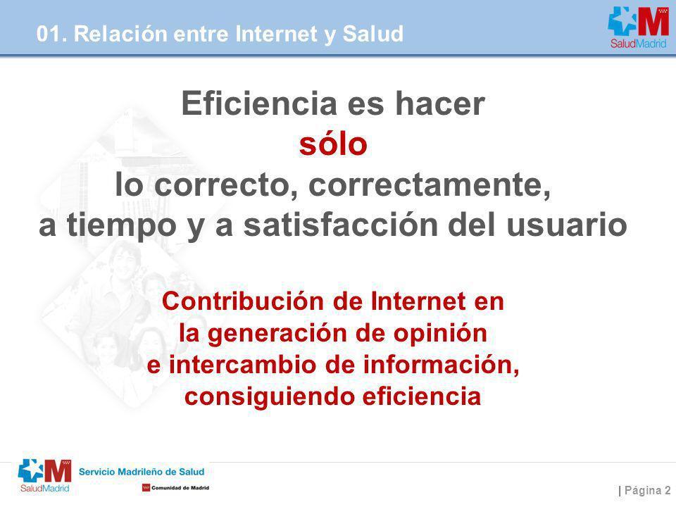 | Página 2 Eficiencia es hacer sólo lo correcto, correctamente, a tiempo y a satisfacción del usuario Contribución de Internet en la generación de opi