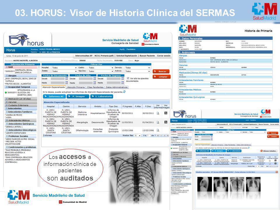 | Página 7 03. HORUS: Visor de Historia Clínica del SERMAS Los accesos a información clínica de pacientes son auditados