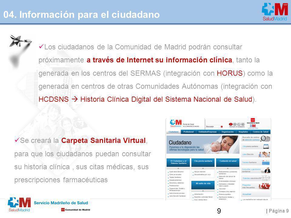 | Página 9 Los ciudadanos de la Comunidad de Madrid podrán consultar próximamente a través de Internet su información clínica, tanto la generada en lo