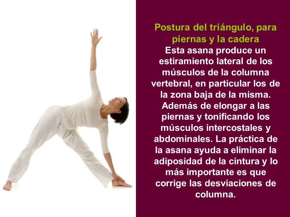 Postura del triángulo, para piernas y la cadera Esta asana produce un estiramiento lateral de los músculos de la columna vertebral, en particular los de la zona baja de la misma.