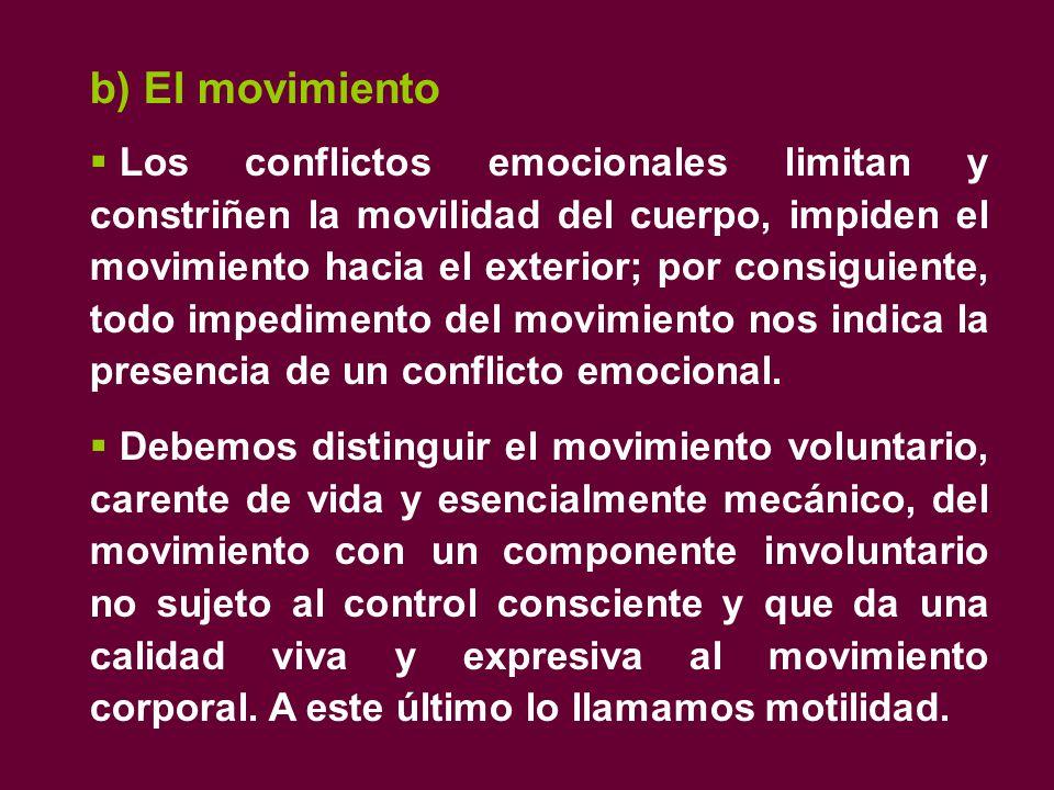 b) El movimiento  Los conflictos emocionales limitan y constriñen la movilidad del cuerpo, impiden el movimiento hacia el exterior; por consiguiente, todo impedimento del movimiento nos indica la presencia de un conflicto emocional.