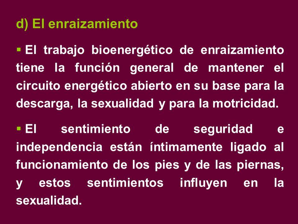d) El enraizamiento  El trabajo bioenergético de enraizamiento tiene la función general de mantener el circuito energético abierto en su base para la descarga, la sexualidad y para la motricidad.
