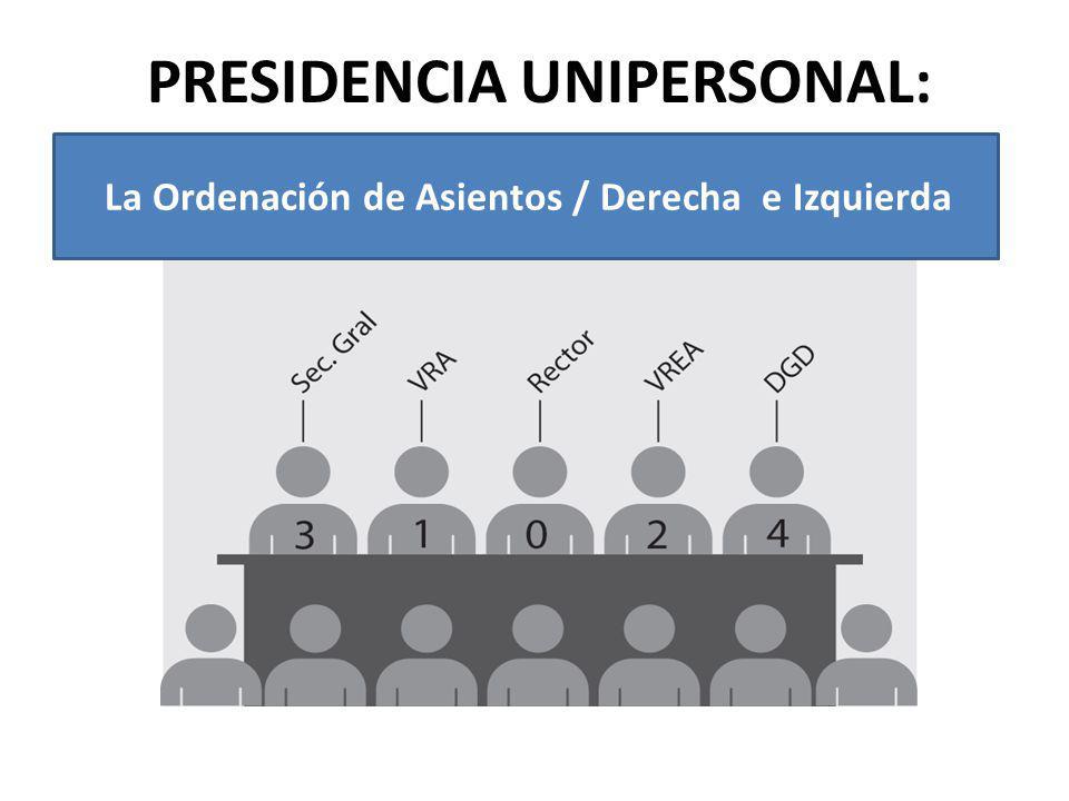 PRESIDENCIA UNIPERSONAL: La Ordenación de Asientos / Derecha e Izquierda