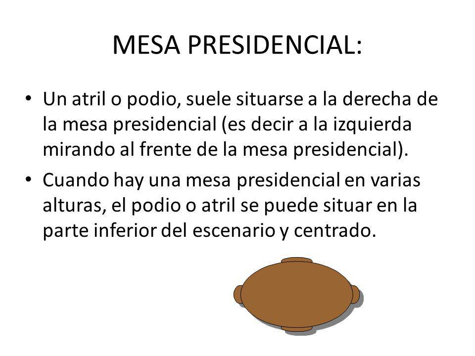 MESA PRESIDENCIAL: Un atril o podio, suele situarse a la derecha de la mesa presidencial (es decir a la izquierda mirando al frente de la mesa preside