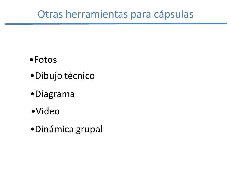 Otras herramientas para cápsulas Video Fotos Diagrama Dibujo técnico Dinámica grupal