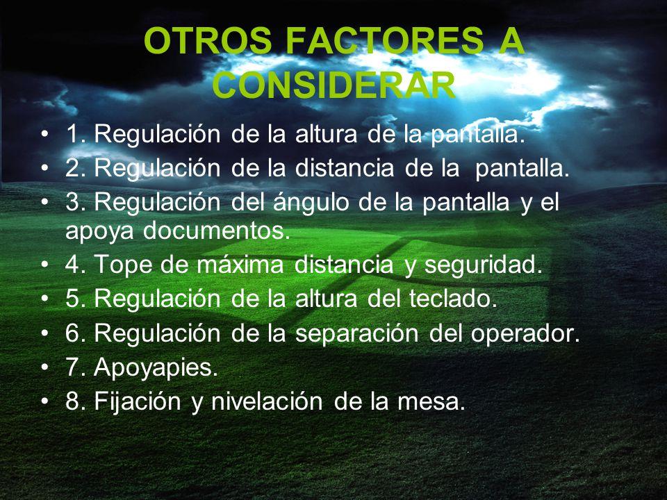 OTROS FACTORES A CONSIDERAR 1.Regulación de la altura de la pantalla.