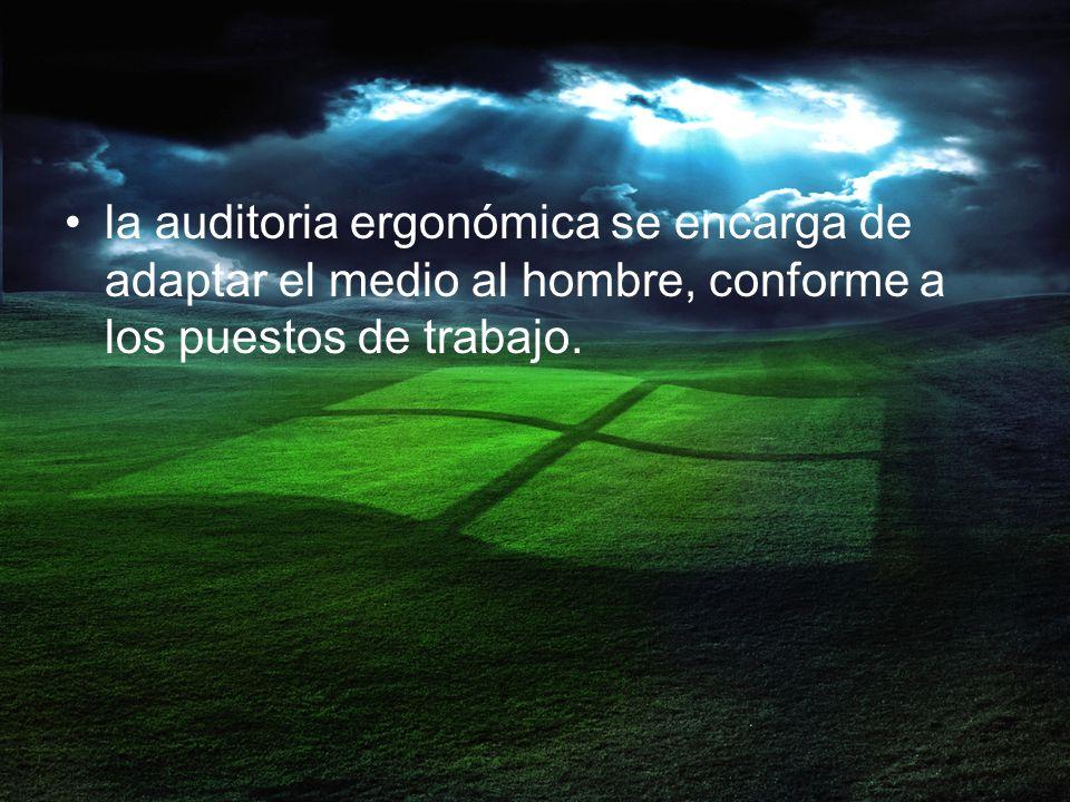 la auditoria ergonómica se encarga de adaptar el medio al hombre, conforme a los puestos de trabajo.