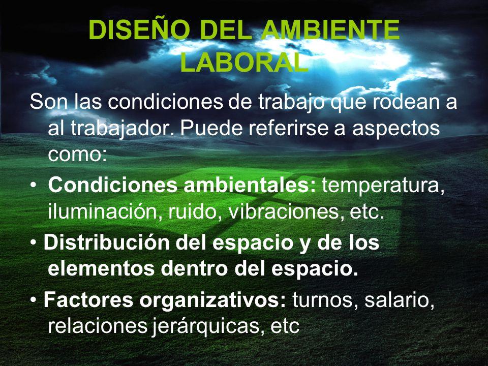 DISEÑO DEL AMBIENTE LABORAL Son las condiciones de trabajo que rodean a al trabajador.