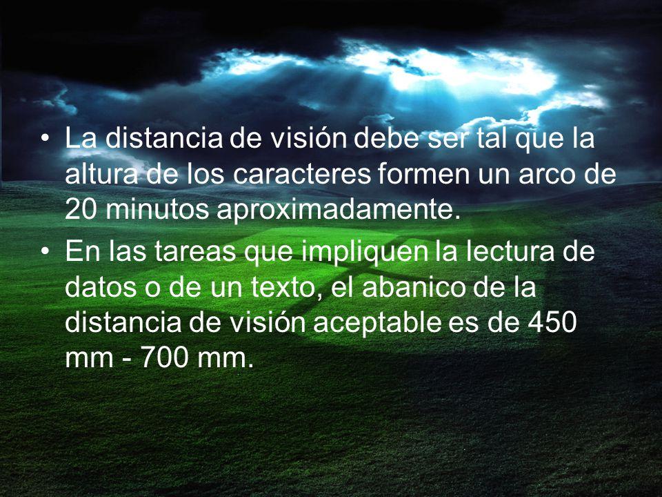 La distancia de visión debe ser tal que la altura de los caracteres formen un arco de 20 minutos aproximadamente.