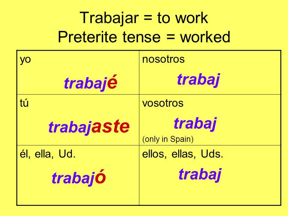 Trabajar = to work Preterite tense = worked yo trabaj é nosotros trabaj tú trabaj aste vosotros trabaj (only in Spain) él, ella, Ud.