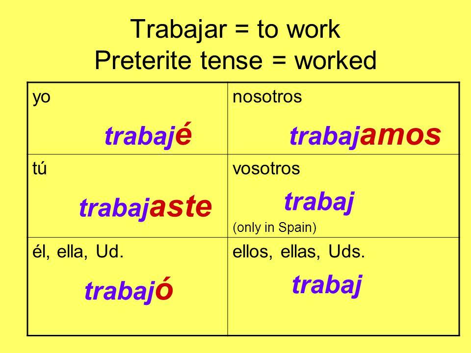 Trabajar = to work Preterite tense = worked yo trabaj é nosotros trabaj amos tú trabaj aste vosotros trabaj (only in Spain) él, ella, Ud.