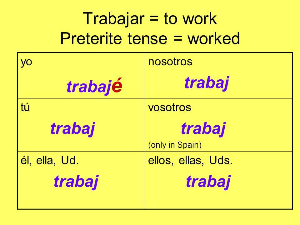 Trabajar = to work Preterite tense = worked yo trabaj é nosotros trabaj tú trabaj vosotros trabaj (only in Spain) él, ella, Ud.