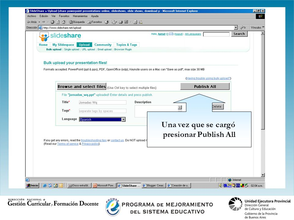 Una vez que se cargó presionar Publish All