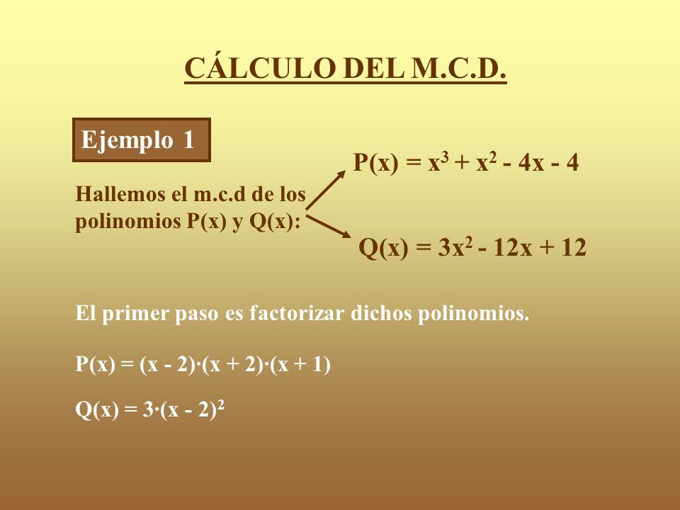 CÁLCULO DEL M.C.D.