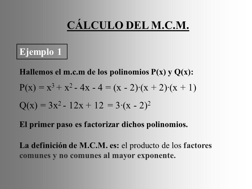 CÁLCULO DEL M.C.M.