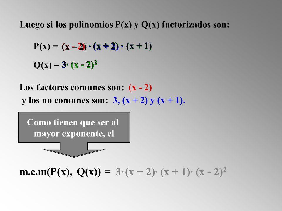 P(x) = Q(x) = Luego si los polinomios P(x) y Q(x) factorizados son: Los factores comunes son: (x - 2) (x - 2) 2 (x - 2) m.c.m(P(x), Q(x)) = 3, (x + 2) y (x + 1).