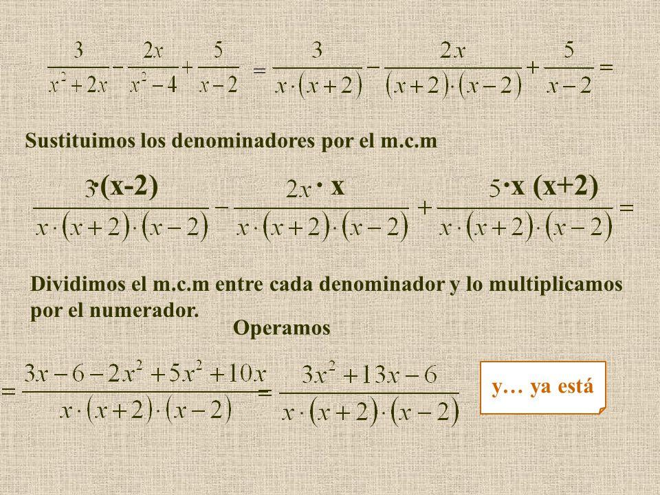 = ·(x-2)· x·x (x+2) Sustituimos los denominadores por el m.c.m Dividimos el m.c.m entre cada denominador y lo multiplicamos por el numerador.
