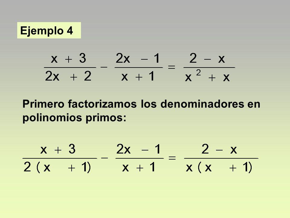 Ejemplo 4 Primero factorizamos los denominadores en polinomios primos: