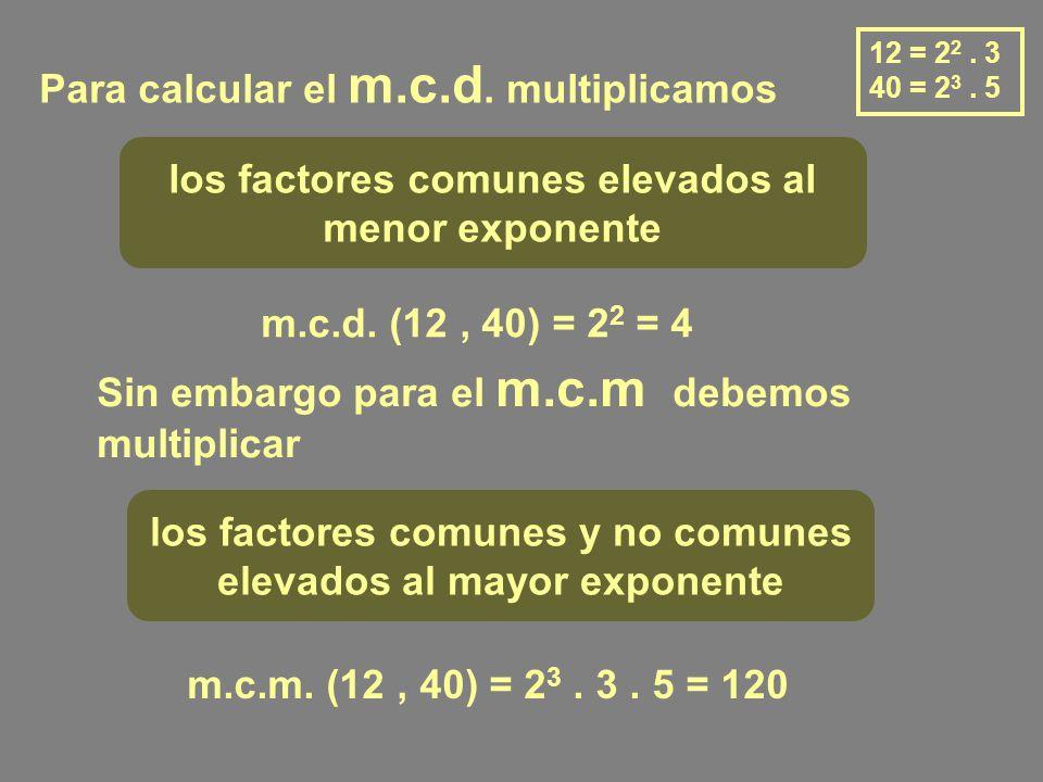 Para calcular el m.c.d.multiplicamos los factores comunes elevados al menor exponente m.c.d.