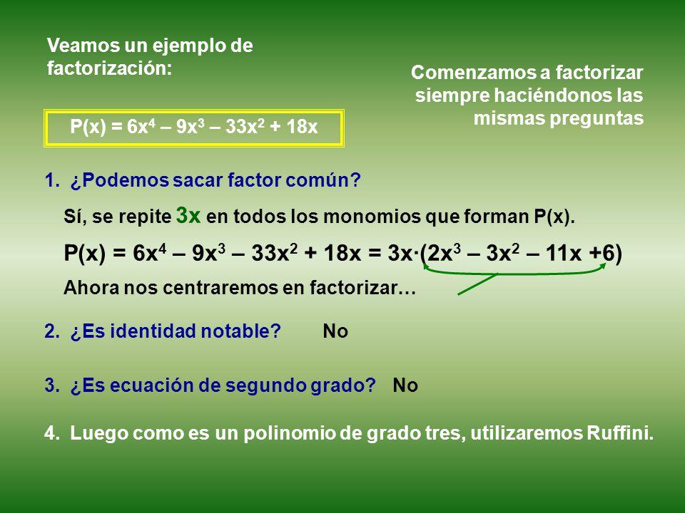 P(x) = 6x 4 – 9x 3 – 33x 2 + 18x 1.¿Podemos sacar factor común.