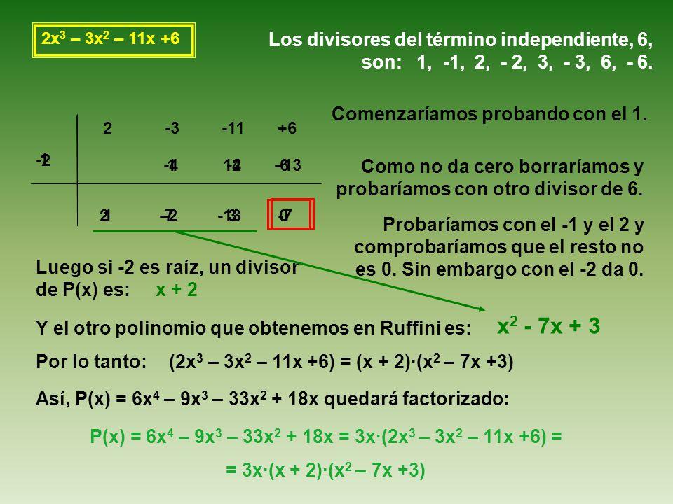 2x 3 – 3x 2 – 11x +6 Los divisores del término independiente, 6, son: 1, -1, 2, - 2, 3, - 3, 6, - 6.