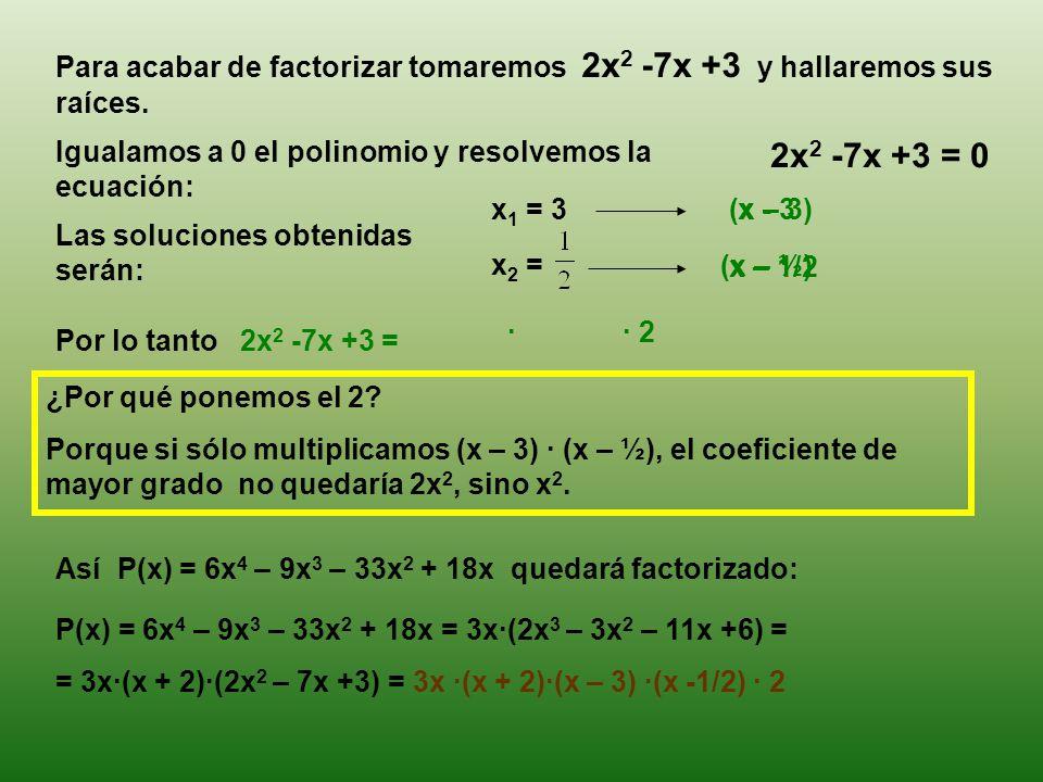 Para acabar de factorizar tomaremos 2x 2 -7x +3 y hallaremos sus raíces.