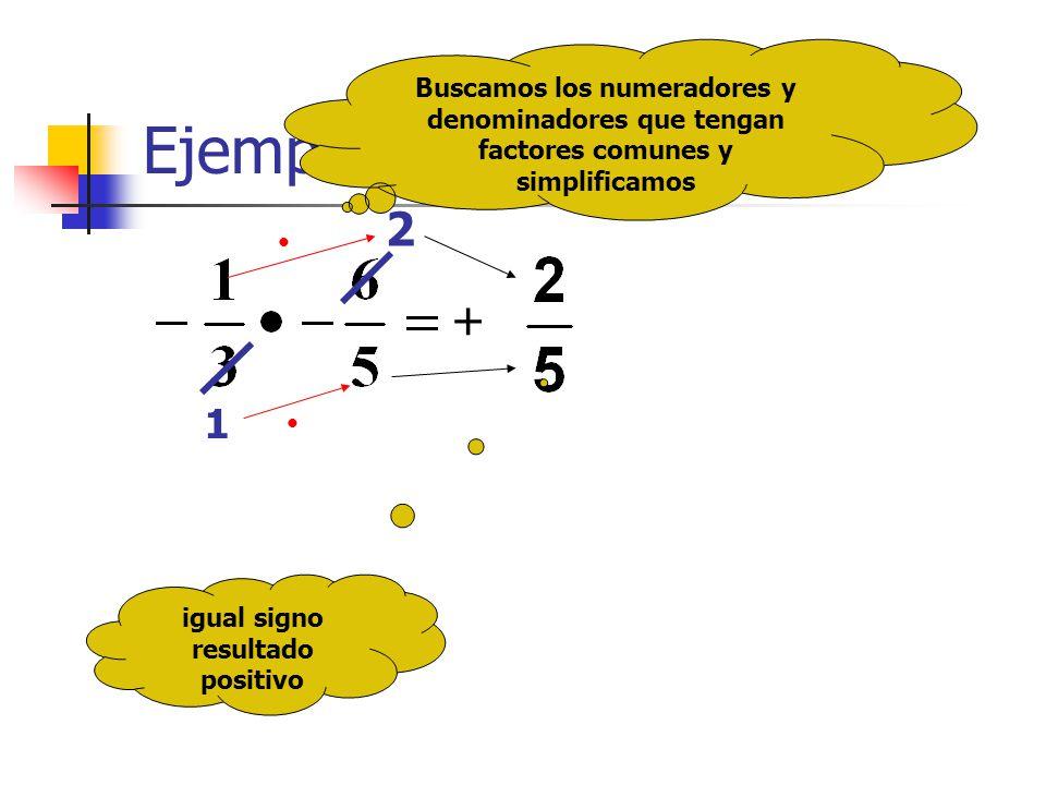 Ejemplo 2 igual signo resultado positivo Buscamos los numeradores y denominadores que tengan factores comunes y simplificamos 2 1 +