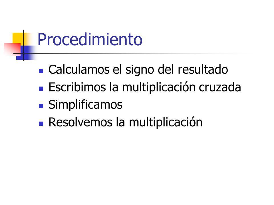 Procedimiento Calculamos el signo del resultado Escribimos la multiplicación cruzada Simplificamos Resolvemos la multiplicación