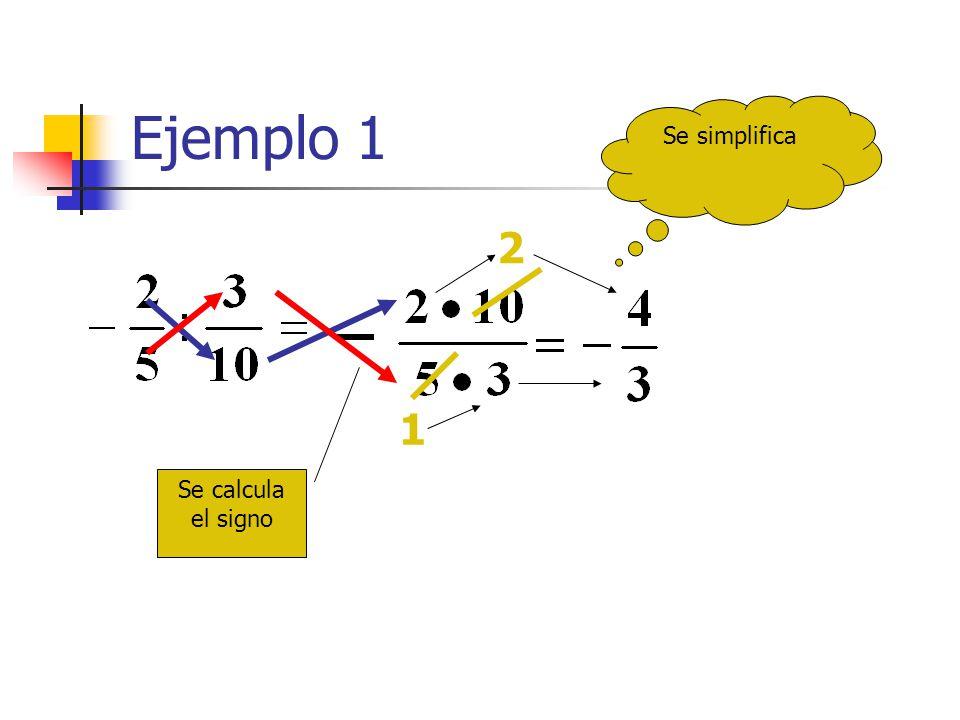 Ejemplo 1 2 1 Se calcula el signo Se simplifica