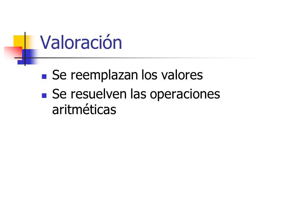 Valoración Se reemplazan los valores Se resuelven las operaciones aritméticas