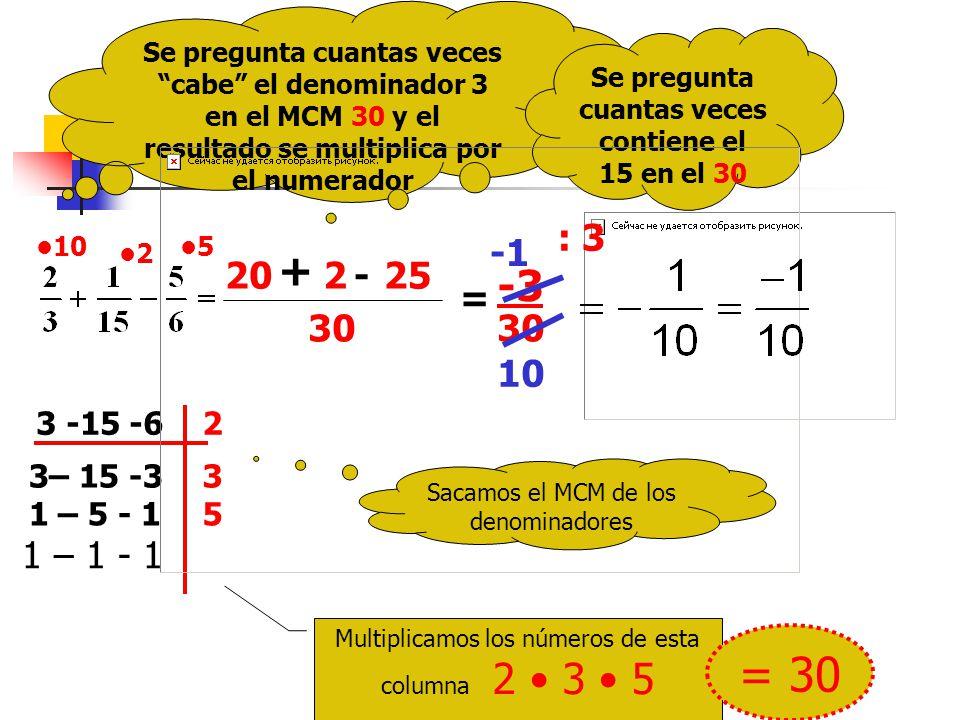 Otro ejemplo Sacamos el MCM de los denominadores 3 -15 -62 3– 15 -33 1 – 5 - 15 1 – 1 - 1 Multiplicamos los números de esta columna 2 3 5 = 30 30 Se pregunta cuantas veces cabe el denominador 3 en el MCM 30 y el resultado se multiplica por el numerador 10 20 Se pregunta cuantas veces contiene el 15 en el 30 5 + 2 = -3 30 : 3 10 -25 2