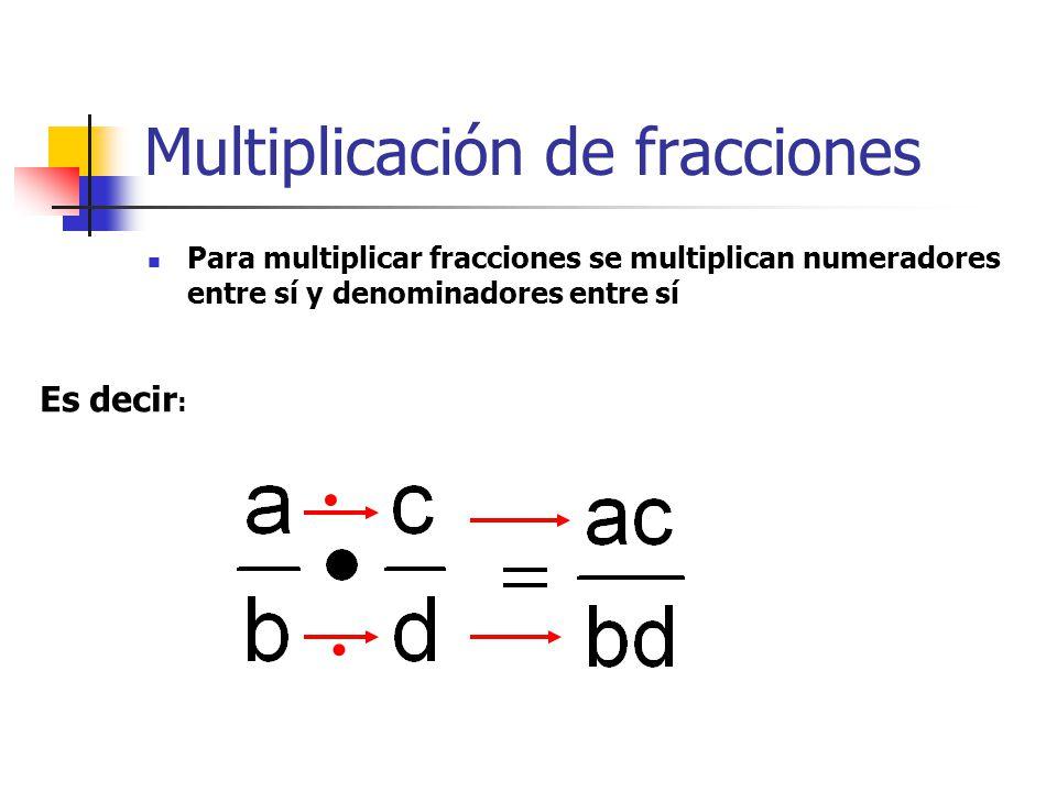 Multiplicación de fracciones Para multiplicar fracciones se multiplican numeradores entre sí y denominadores entre sí Es decir :