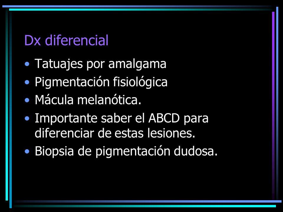 Dx diferencial Tatuajes por amalgama Pigmentación fisiológica Mácula melanótica. Importante saber el ABCD para diferenciar de estas lesiones. Biopsia