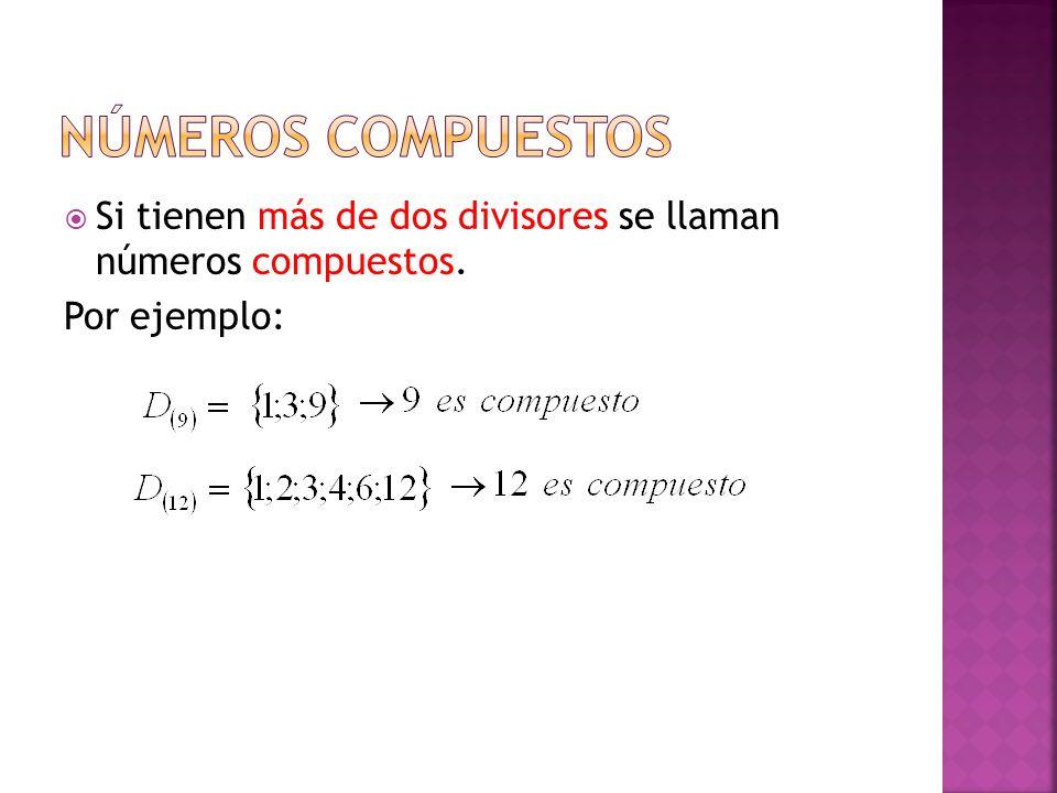  Si tienen más de dos divisores se llaman números compuestos. Por ejemplo: