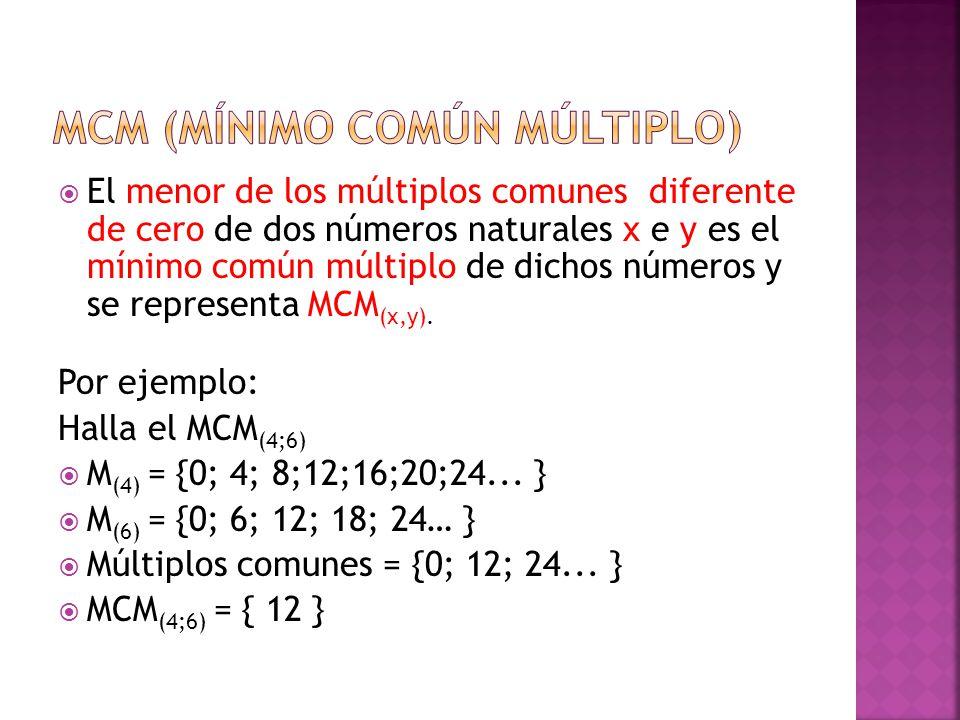  El menor de los múltiplos comunes diferente de cero de dos números naturales x e y es el mínimo común múltiplo de dichos números y se representa MCM (x,y).