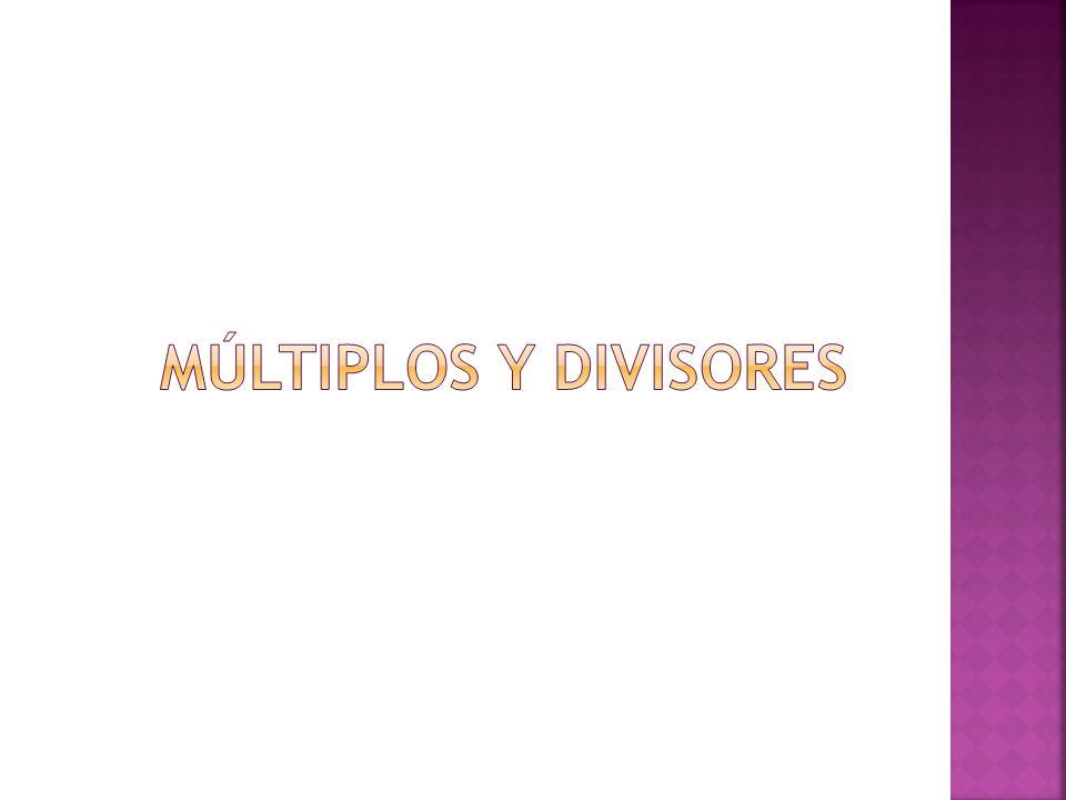  Los números que se multiplican son factores o divisores del número obtenido, y este es un múltiplo de cada uno de sus factores.