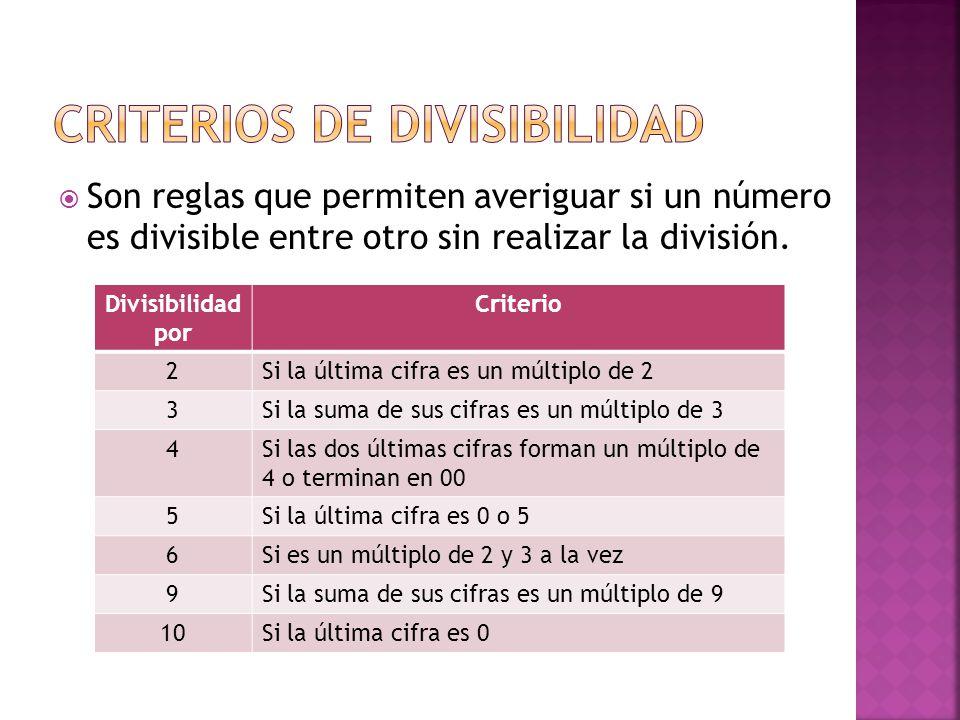 Son reglas que permiten averiguar si un número es divisible entre otro sin realizar la división.