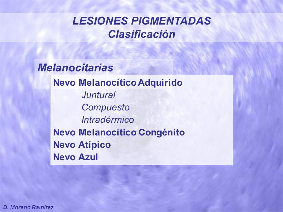 Melanocitarias Léntigos Lentigo Senil Lentigo Maligno Melanoma Extensión superficial Nodular Lentiginoso Acral Lentigo Maligno Melanoma LESIONES PIGMENTADAS Clasificación D.