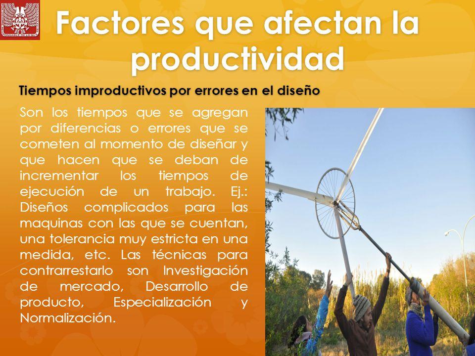 Factores que afectan la productividad Son los tiempos que se agregan por diferencias o errores que se cometen al momento de diseñar y que hacen que se deban de incrementar los tiempos de ejecución de un trabajo.